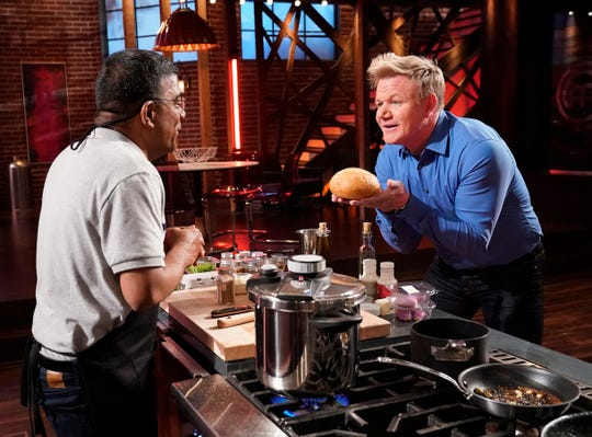 "Subha Ramiah with host/chef Gordon Ramsay in the ""Someone's Toast"" episode of Masterchef."