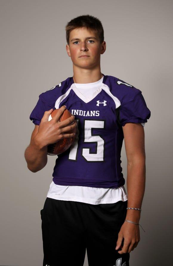 Luke Mercer, the football quarterback for John Jay (Cross River) High School, photographed Aug. 23, 2019.