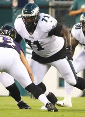 Eagles offensive tackle Jason Peters lines up on the opening drive in the first quarter in preseason action against Baltimore at Lincoln Financial Field Thursday.
