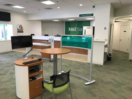 M&T's updated designs showcased at the Fairfax branch on Concord Pike. The bank is renovating 38 branches throughout Delaware.