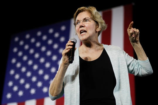 Democratic presidential candidate Elizabeth Warren, D-Mass speaks during a town hall campaign event in Los Angeles, Wednesday, Aug. 21, 2019. (AP Photo/Chris Carlson)