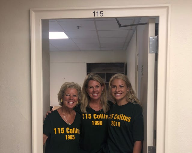 Brooke Altman, right, of Wichita Falls, begins her freshman year at Baylor University in the same dorm room — Ruth Collins Hall Room 115 — where her grandmother and mother lived. Sue Steakley, left, moved into Room 115  in 1965, and graduated with an elementary education degree. Brook's mother, SueAnn, moved into Room 115 in the fall of 1990, graduating with a bachelor of arts in communications in 1994 and master of arts in communications studies in 1995.