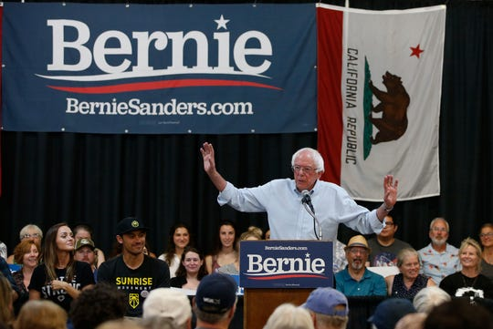 Democratic presidential candidate Sen. Bernie Sanders, I-Vermont, speaks at a climate focus town hall meeting in Chico, Calif., Thursday, Aug. 22, 2019.