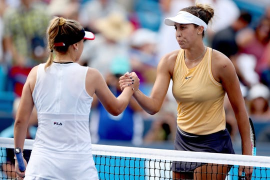 Sofia Kenin congratulates Madison Keys (right) after their match during the Western & Southern Open at Lindner Family Tennis Center on Aug. 17 in Mason, Ohio.