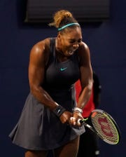 Serena Williams (USA) reacts after winning a rally against Ekaterina Alexandrova (not pictured) during the Rogers Cup tennis tournament at Aviva Centre.