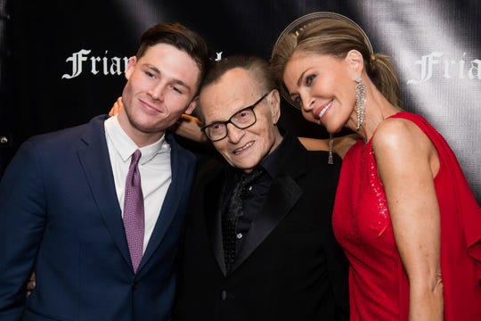 Cannon King and his parents, Larry King and Shawn King, attend the Friars Club Entertainment Icon Award ceremony  on Nov. 12, 2018, in New York.