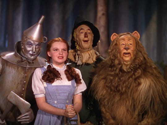 "Jack Haley, Judy Garland, Ray Bolger, and Bert Lahr in ""The Wizard of Oz."""