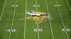 General view of the Minnesota Vikings logo at midfield during a NFL game against the Los Angeles Rams at U.S. Bank Stadium.