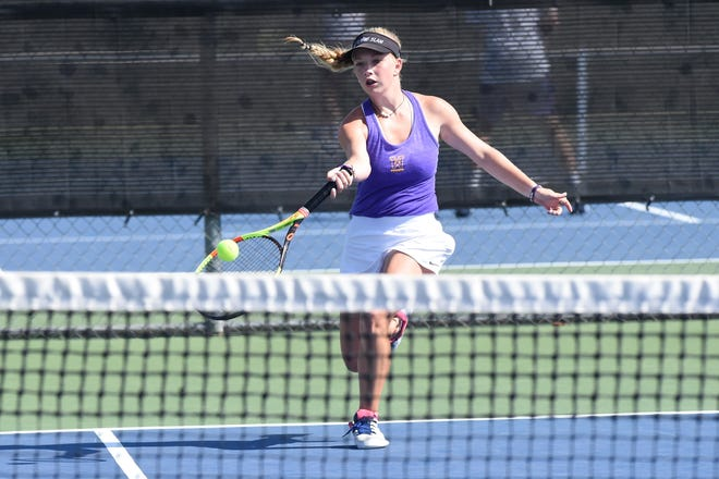 Wylie's Carly Bontke hits a shot on the run against Vernon in the semifinals of the Abilene ISD Team Tennis Tournament on Saturday, Aug. 24, 2019. Bontke won 6-4, 6-4 at No. 1 singles as Wylie won 11-4 to advance to the finals.