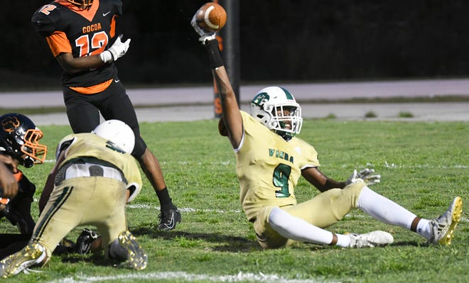 Viera wide receiver Donovan Giles, raising the ball after making a catch against Cocoa last season, plans to hit the road this summer like many other high school football players to earn a college scholarship.