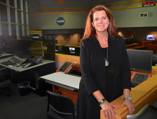 Charlie Blackwell-Thompson, Artemis launch director, is the first female launch director at NASA, in Firing Room 1 in the Launch Control Center.