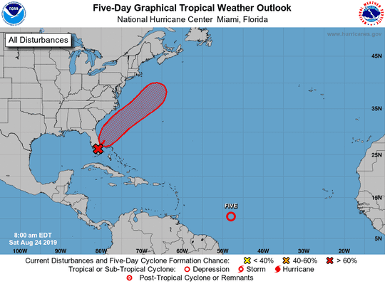Tropical conditions for Aug. 24, 2019.