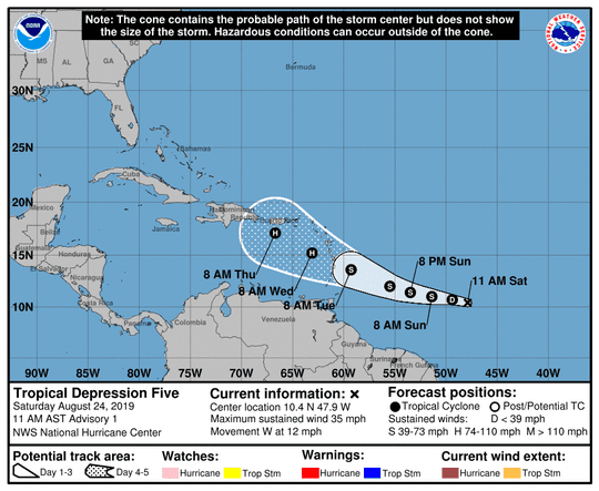 A graphic from the National Hurricane Center shows the position and projected path of Tropical Depression Five on Saturday, Aug. 24.