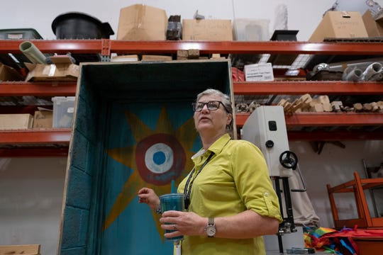 Production Manager Veronica Bishop stands in a workshop at the Cincinnati Playhouse in the Park on Friday, Aug. 23, 2019 in Cincinnati, Ohio.