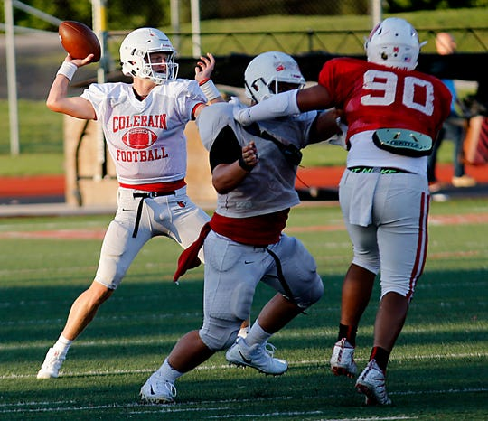 Colerain quarterback Tyler Prather sets to pass against Lakota West during their scrimmage in West Chester Twp. Friday, August 23, 2019.