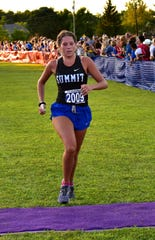 Summit's Catherine Coldiron stepped to a 2nd place finish in the varsity girls small school race at the 2019 Moeller Primetime Cross Country Invitational, August 23, 2019.