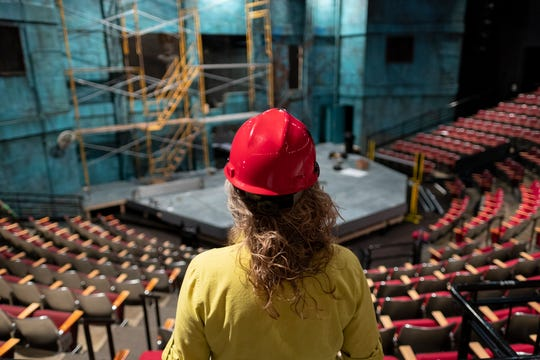 Production Manager Veronica Bishop inspects a production set at the Cincinnati Playhouse in the Park as part of a 'behind the scenes' story by theater writer David Lyman. This is a view Lyman sees quite often while attending and reviewing countless shows in Cincinnati.
