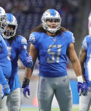 Detroit Lions' Jahlani Tavai lines up against the Buffalo Bills during the first half Friday Aug. 23, 2019 at Ford Field.