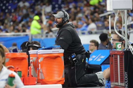 Matt Patricia watches action against the Bills on Friday.