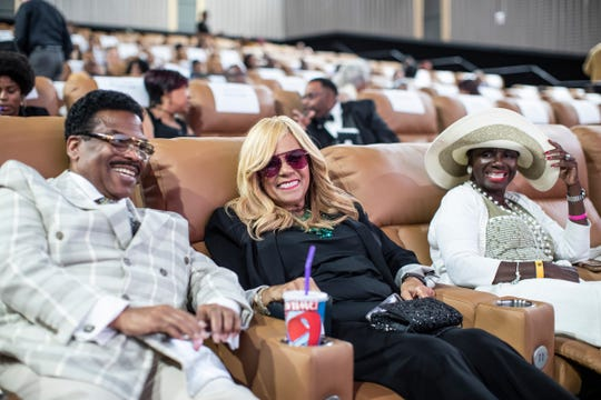 "From left, Foody Rome, Claudette Robinson and her friend Patty Turner pose for a photo before Detroit premiere of Motown documentary movie ""Hitsville: The Making of Motown"" at Emagine Royal Oak in Royal Oak, Friday, August 23, 2019."