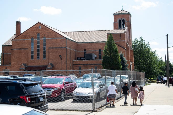 Family and friends attend Emma Hernandez's funeral at the St. Cunegunda Church in Detroit, Saturday, August 23\4, 2019.