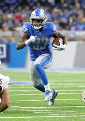 Detroit Lions' Kerryon Johnson runs the ball during the first half against the Buffalo Bills, Friday, Aug. 23, 2019 at Ford Field.
