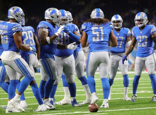 Detroit Lions' Jahlani Tavai calls the defense during the first half against the Buffalo Bills, Friday, Aug. 23, 2019 at Ford Field.