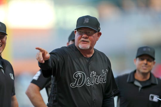 Detroit Tigers manager Ron Gardenhire before the game against the Minnesota Twins at Target Field on Aug. 23, 2019 in Minneapolis. Teams are wearing special color schemed uniforms with players choosing nicknames to display for Players' Weekend.