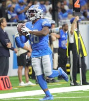 Detroit Lions' Quandre Diggs celebrates recovering a fumble by the Buffalo Bills during the first half Friday, Aug. 23, 2019 at Ford Field.