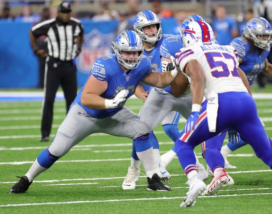 Detroit Lions' Graham Glasgow blocks the Buffalo Bills' Lorenzo Alexander during the first half Friday, Aug. 23, 2019 at Ford Field.