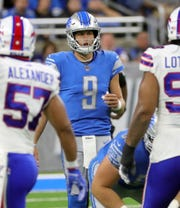 Detroit Lions Matthew Stafford runs the offense during the first half against the Buffalo Bills, Friday, Aug. 23, 2019 at Ford Field.