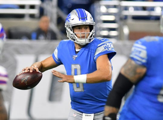 Lions quarterback Matthew Stafford looks to pass in the first half of Friday's preseason game against the Bills.