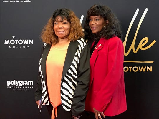 "Original Vandellas Rosalind Holmes, left, and Annette Beard at Friday's private screening at the Emagine Theater in Royal Oak of ""Hitsville:the Making of Motown."""