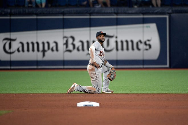 Niko Goodrum first injured his groin in Tampa and sat out four games. Friday was his second game back.