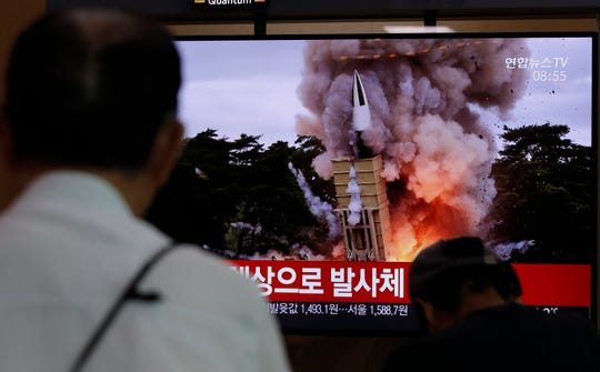 """North Korea fired two suspected short-range ballistic missiles off its east coast on Saturday in the seventh consecutive week of weapons tests, South Korea's military said, a day after it threatened to remain America's biggest threat in protest of U.S.-led sanctions on the country. The part of Korean letters read: """"Projectiles."""""""