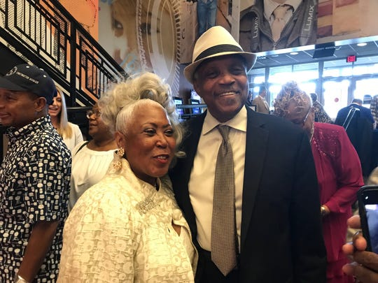 "Beverly Banton, left, and Motown arranger Paul Riser at Friday's private screening at the Emagine Theater in Royal Oak of ""Hitsville:the Making of Motown."""