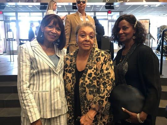 "Bertha Barbee-McNeal of the Velvelettes, left, Pat Cosby, widow of Hank Cosby, and Cal Street of the Velvelettes at Friday's private screening at the Emagine Theater in Royal Oak of ""Hitsville:the Making of Motown."""