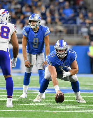 Lions center Frank Ragnow (77) returned to practice on Tuesday after suffering a leg injury in the third preseason game.