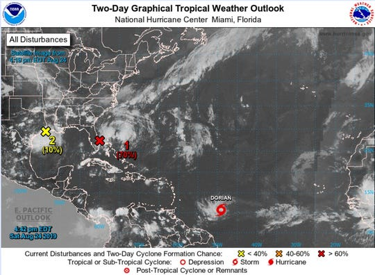 Tropical Depression Five strengthened into Tropical Storm Dorian on Saturday afternoon Aug. 24, 2019.