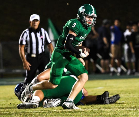 Easley junior quarterback Kasten Harvey (9) and the Green Wave will travel to face Wren in Week 3 of the high school football season,