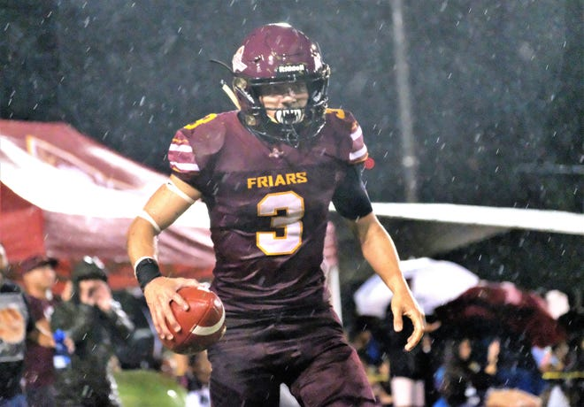 Father Duenas Friars senior running back Kein Artero scored all of FD's touchdowns, including one on a punt return, in a 34-0 victory over George Washington High School on Aug. 23, 2019.