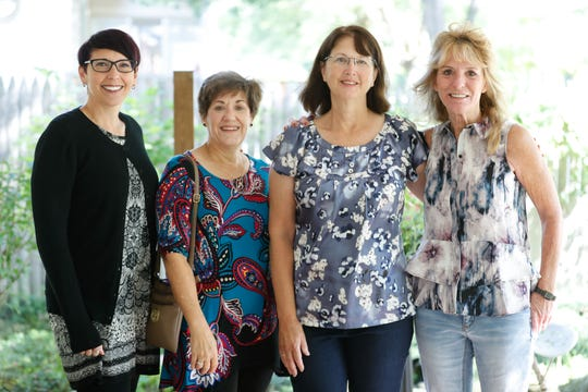 "Left to right, four of the ""Fabulous Five,"" genealogical researchers, Cori Baker, Judy Moore Hill, Linda Sulek, Tina French, and Lori Van Every (not shown),  in Muncie Ind., on Saturday, Aug. 24, 2019. The women were ""Diamond"" Mike Watson, who's in the diamond business, was adopted as an infant. He was able to find his family in 1994, but one sister was not accounted for. After twenty-five years, he was able to reunite with her thanks to five female genealogical researchers ""The Fabulous Five"" and a facebook page, ""Find Deborah Kay."""