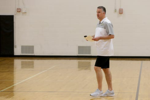 Purdue head coach Matt Painter watches during a Purdue Men's Basketball Elite Camp, Saturday, Aug. 24, 2019 at the Cordova Recreational Sports Center in West Lafayette.