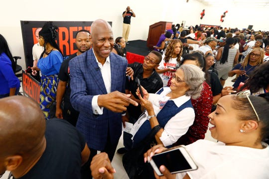 Willie Herenton greets supporters during a Women for Herenton rally at the former mayor's southside Memphis campaign headquarters on Saturday, Aug. 24, 2019.