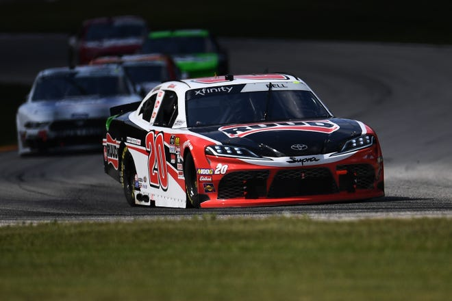 Christopher Bell leads a pack through Turn 13 during  the NASCAR Xfinity Series CTech Manufacturing 180 Saturday at Road America.