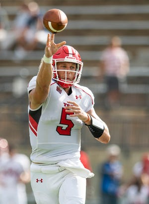 Youngstown quarterback Joe Craycraft passes against Samford during the Guardian Credit Union FCS Kickoff at Cramton Bowl in Montgomery, Ala., on Friday August 23, 2019.