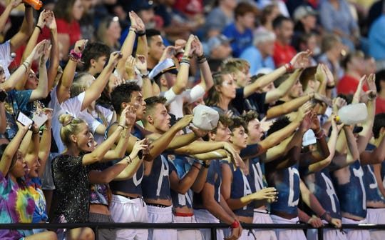 Oakland fans cheer during their game at Hendersonville High School Friday, Aug. 23, 2019 in Hendersonville, Tenn.
