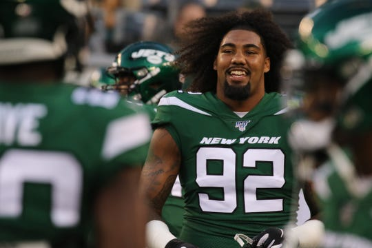Leonard Williams of the NY JetsÊbefore the New Orleans Saints and the New York Jets met in a pre season NFL game at Metlife Stadium in East Rutherford, NJ on August 24, 2019.