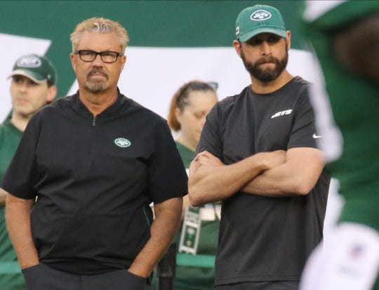 Defensive coordinator Greg Williams and head coach Adam Gase before the New Orleans Saints and the New York Jets met in a pre season NFL game at Metlife Stadium in East Rutherford, NJ on August 24, 2019.