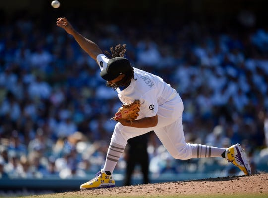 Los Angeles Dodgers relief pitcher Kenley Jansen throws during the ninth inning of the team's baseball game against the New York Yankees in Los Angeles, Saturday, Aug. 24, 2019. The Dodgers won 2-1 on MLB Players' Weekend.